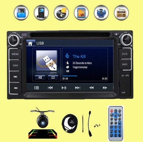 AutoVideo USB 2din Car DVD GPS for Toyota Hilux VIOS Camry Corolla Prado RAV4 Prado 2003 2004 2005 2006 2007 2008 Reverse camera(China (Mainland))