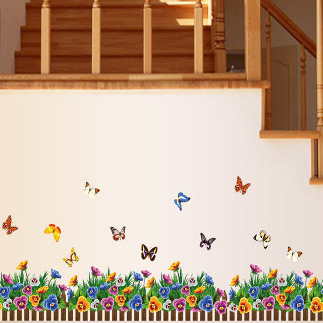 Бабочки трава цветок DIY съемный искусство цитата стены стикера дома настенной росписи украшения 882