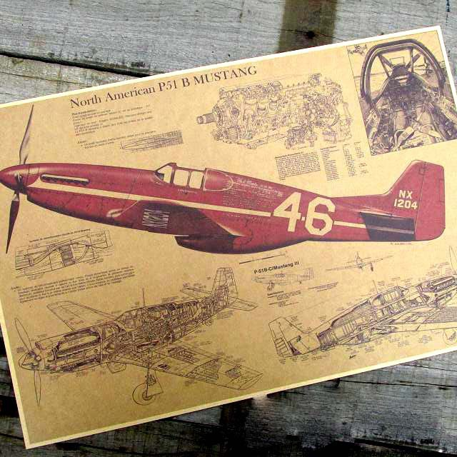 P51 mustang fighter aircraft structure drawing Nostalgic restoring ancient ways Kraft paper posters 30 * 42 cm(China (Mainland))