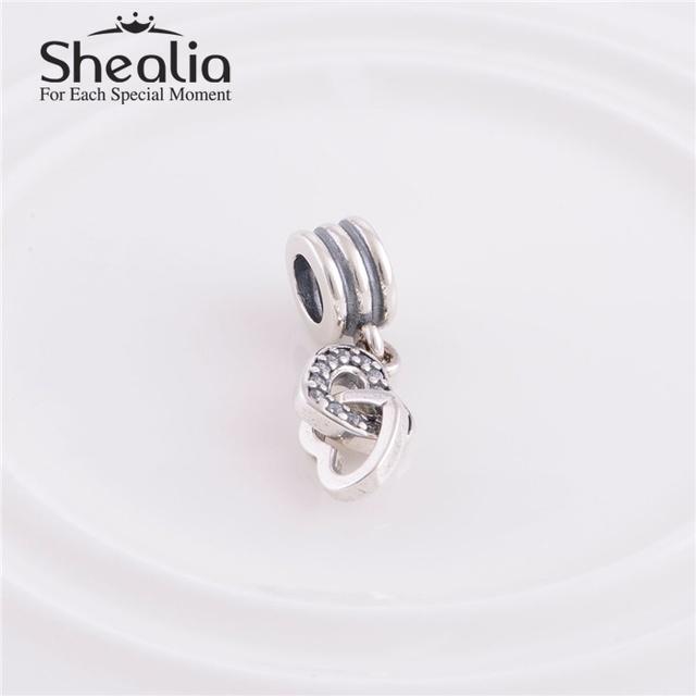 Аутентичные стерлингового серебра 925 CZ блокировки любовь мотаться подвески подходит европейский стиль браслет шарма ожерелья и подвески