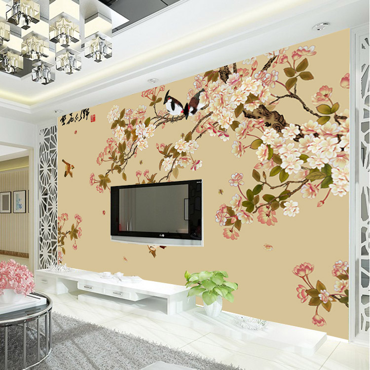 Buy vintage bird and flower wallpaper for Mural art designs for bedroom