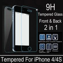 2 шт./лот передняя панель + крышка премиум закаленное стекло для iPhone 4S 4 взрыв — взрывозащищенные скреста защитная пленка для
