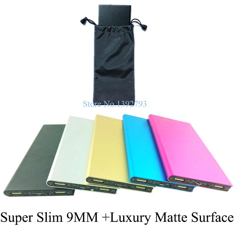 9MM Thin 20000Mah Luxury Matte Power Bank Portable External Battery Pack Emergency Charger Dual USB Powerbank + LED Light 11C8(China (Mainland))
