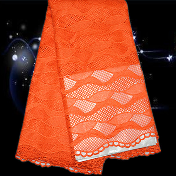 PSL68-4 Orange Reasonalble Price Beautiful African Water Soluble Lace Nice Looking Wedding Cord Lace Trim For Dress(China (Mainland))