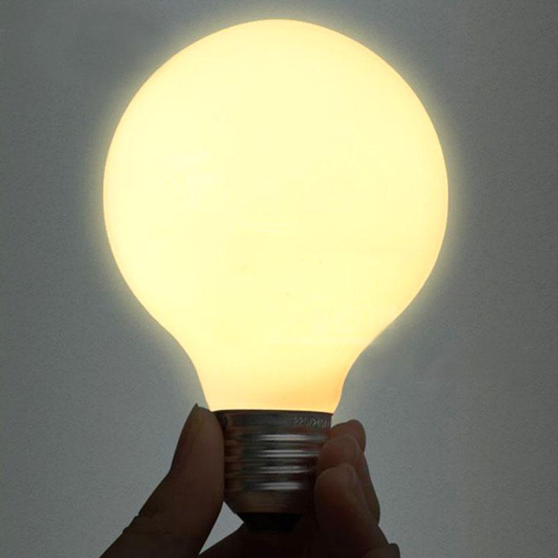 2PCS G80 LED Bulb E27 Glass LED Bubble Ball Bulb Milk White LED Global Bulb 5W LED bombilla lamp light(China (Mainland))