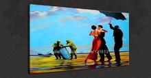Banksy art Crude Oils Graffiti Urban Canvas Art Oil Paintings Artwork Monet Reproductions For Living Room Graduation Souvenir(China (Mainland))
