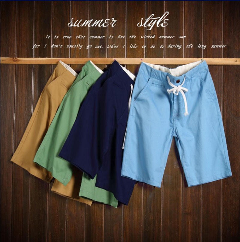 men Summer Casual Drawstring Pocket Cotton solid color beach Straight Fashion Slim Pants Trousers - Abigale International Trade Co., Ltd. store
