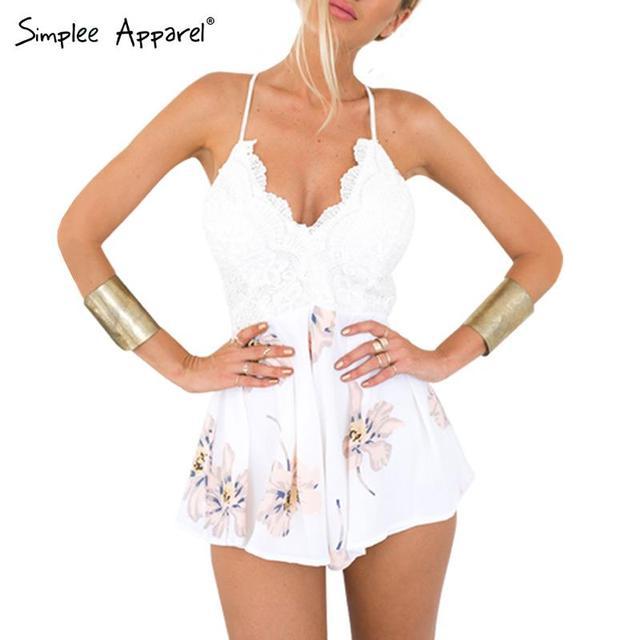 Simplee Одежда Ремень белого кружева элегантный комбинезон комбинезон Сексуальный ...
