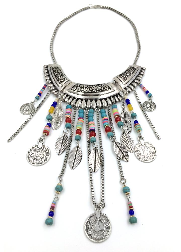 Vintage tibetan handmade beads chain necklaceTassel chain coin pendants Boho style collier femme statement Necklace summer style<br><br>Aliexpress