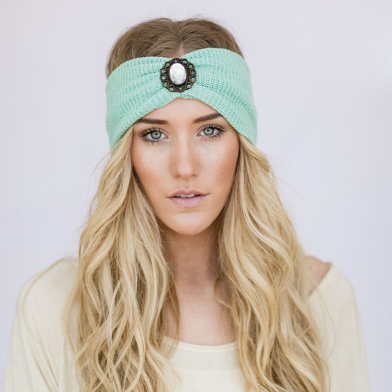 Mint Boho Knit Headband WanderLust Bohemian Free Spirited Accessories Women's Fashion Hair Accessories Hair Bands Photo Prop 1pc(China (Mainland))