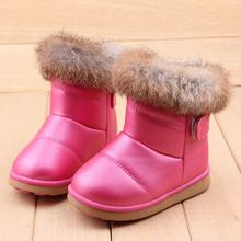 2015 TOP Designers EU21-30 Of Rabbit Hair Children Snow Boots Warm Winter Plush Kids Boots For Girls Shoes Rubber soles