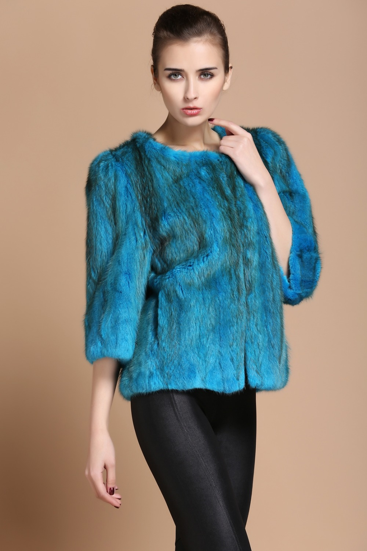 Mink Fur coats new fall and winter  leather  mink Nine points sleeve windbreaker jacket