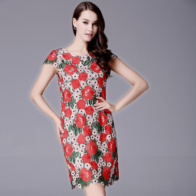 New 2015 women summer runway fashion Dresses elegant handmade flower embroidery lace designer dress slim casual Dress D3824