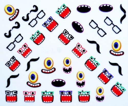 Nail Art Stickers Decal 3D Black Beard Glasses Mustache Design Decorative Foils Stamping Tools(China (Mainland))