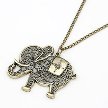 Women Retro Vintage Bronze Hollow European Cute Lovely Elephant Long Chain Dress Pendent Necklace Jewelry Gift(China (Mainland))