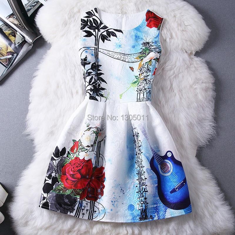 2015 new fashion spring and summer flower print dress women sleeveless casual dress Vestidos Femininos free shipping robe femme(China (Mainland))