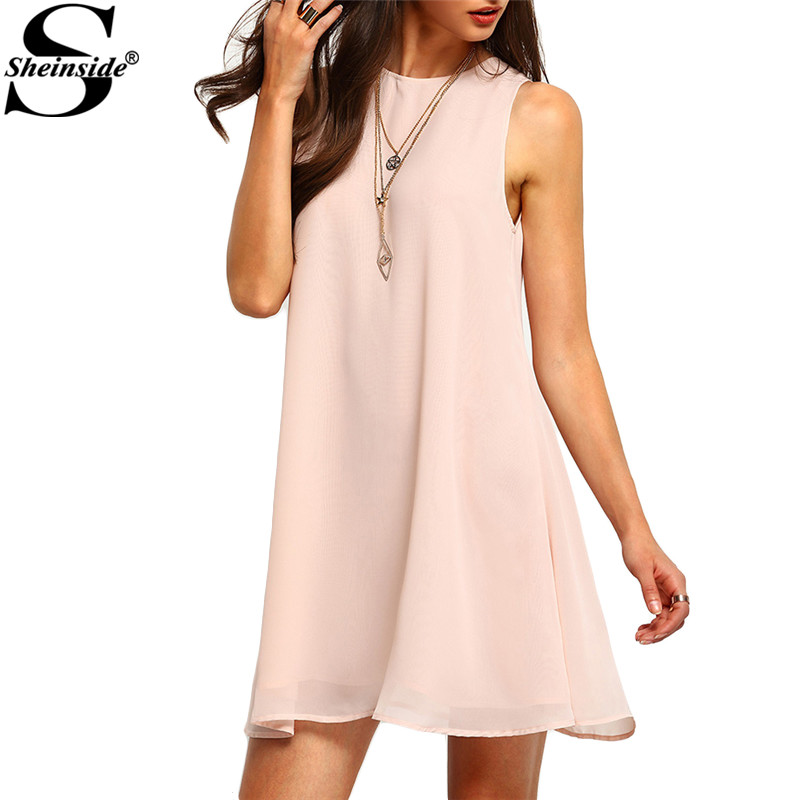 Sheinside Cute Dresses New Arrival 2016 Clothes For Ladies Pink Sleeveless Crew Neck Shift Short Dress(China (Mainland))