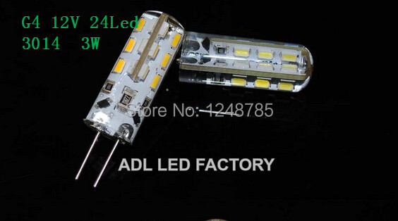 Foxanon Brand G4 Dimmable Led Light DC12V High Quality Silicon Lamp 24Led 3014 SMD Crystal Corn Bulb 3W Bulb Lighting 100Pcs/Lot<br><br>Aliexpress