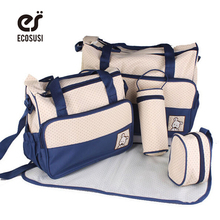 7 Colors 5PCS/Set  High Quality Tote Baby Shoulder Diaper Bags Durable Nappy Bag  Mummy Mother Baby Bag(China (Mainland))