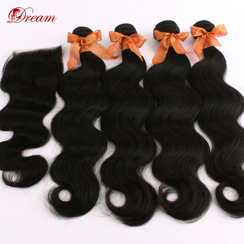 Brazilian Virgin Hair 4 pcs lot Body Wave Free Part Lace Closure With 3pcs Bundles Hair Unprocessed Human Hair Weft Extension<br><br>Aliexpress