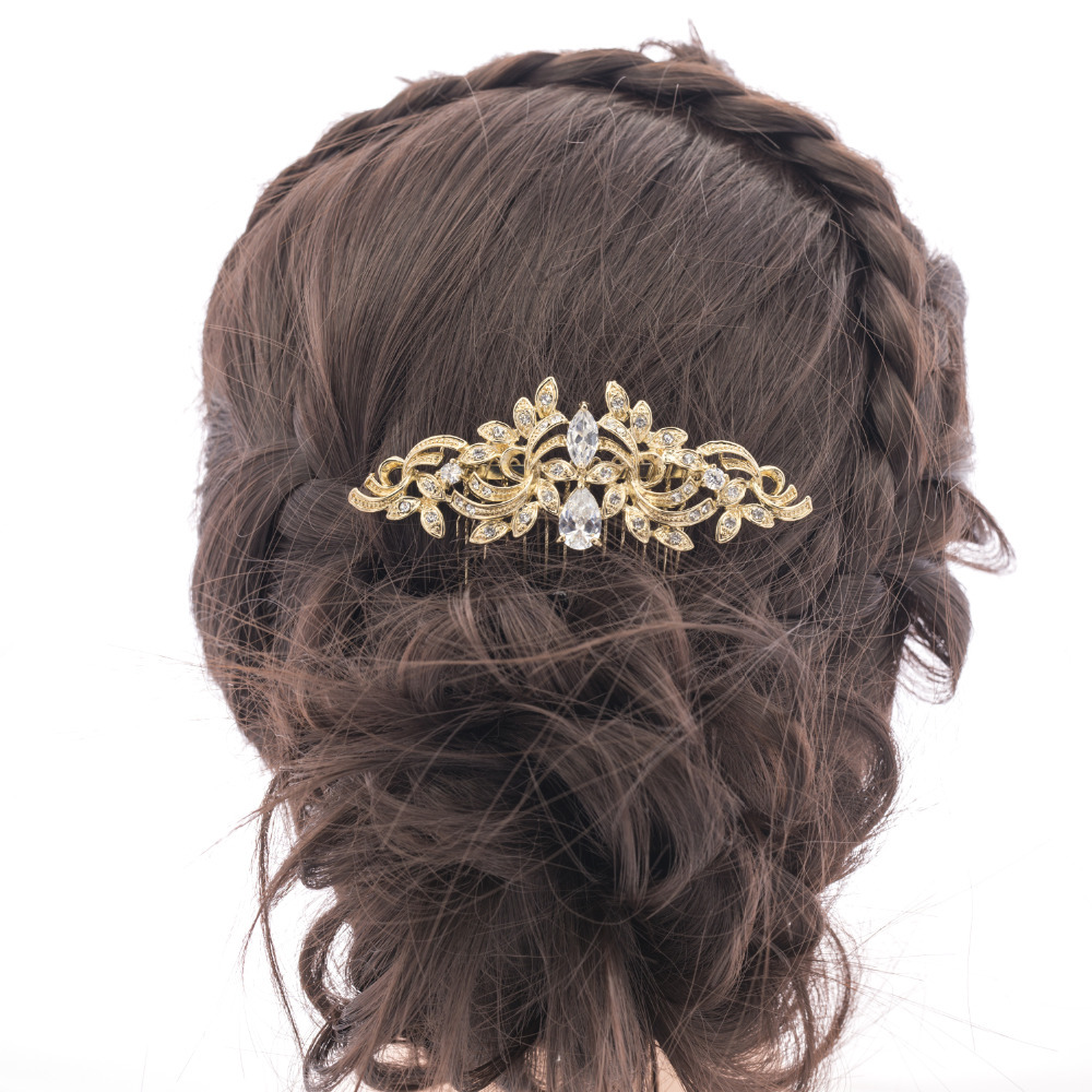 Vintage Gold Bridal Hair Comb Hairpins Rhinestone Crystal Drop Zircon Flower for Women Wedding Accessories Wholesale CO4012R(China (Mainland))