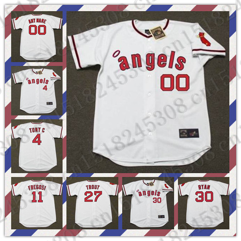 Retro NOLAN RYAN jersey MIKE TROUT JIM FREGOSI Baseball jersey Throwback TONY CONIGLIARO Jersey White Mens Stitched jerseys