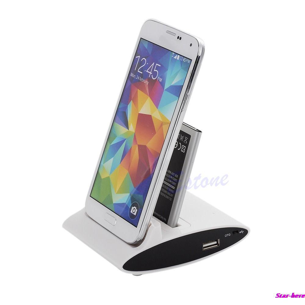 Free Shipping 3in1 Dual OTG USB Sync Battery Charger Dock Holder For Samsung Galaxy S4 I9500 New