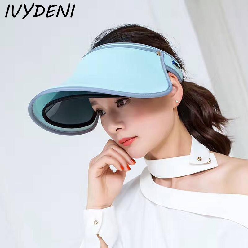 Fashion New Double Layer Plastic Sun Visor Hat Beach Sunvisor Womens Hats And Caps Biker Hat Elegant Ladies Hats Neon Sun Visor(China (Mainland))