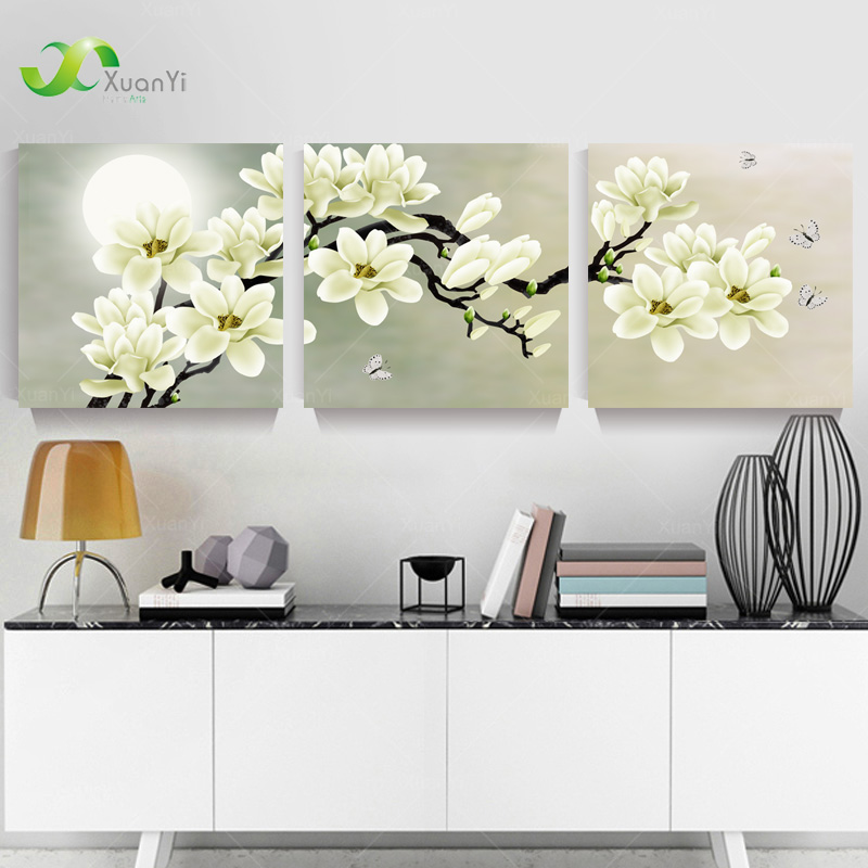 3 Panel Modern Abstract Flower Painting On Canvas Wall Art Cuadros Flowers Picture Home Decor For Living Room No Frame PR191(China (Mainland))