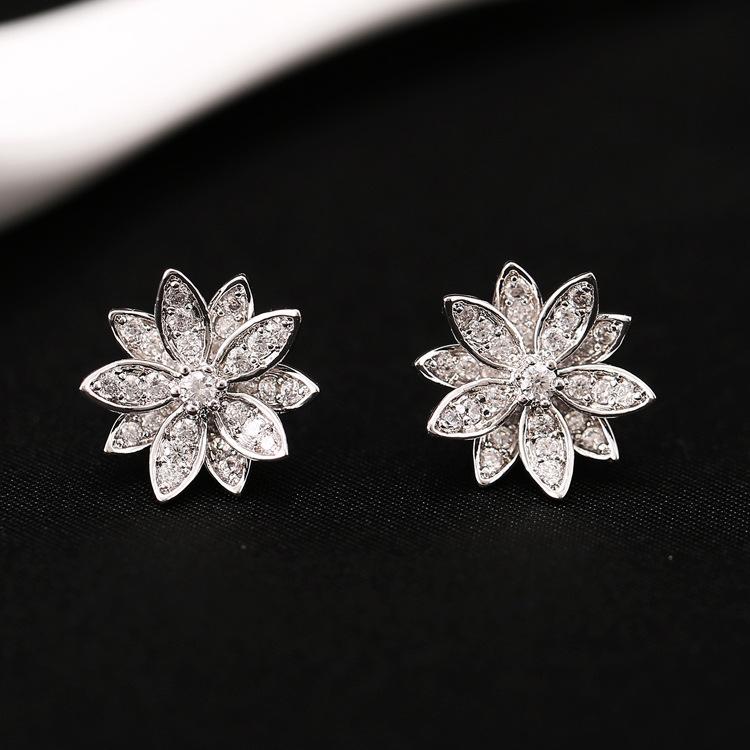 OLSON 2015 Originality 925 Sterling Silver Earrings Lotus Design Earrings AAA Zircon Earrings For Women Birthday Gift <br><br>Aliexpress