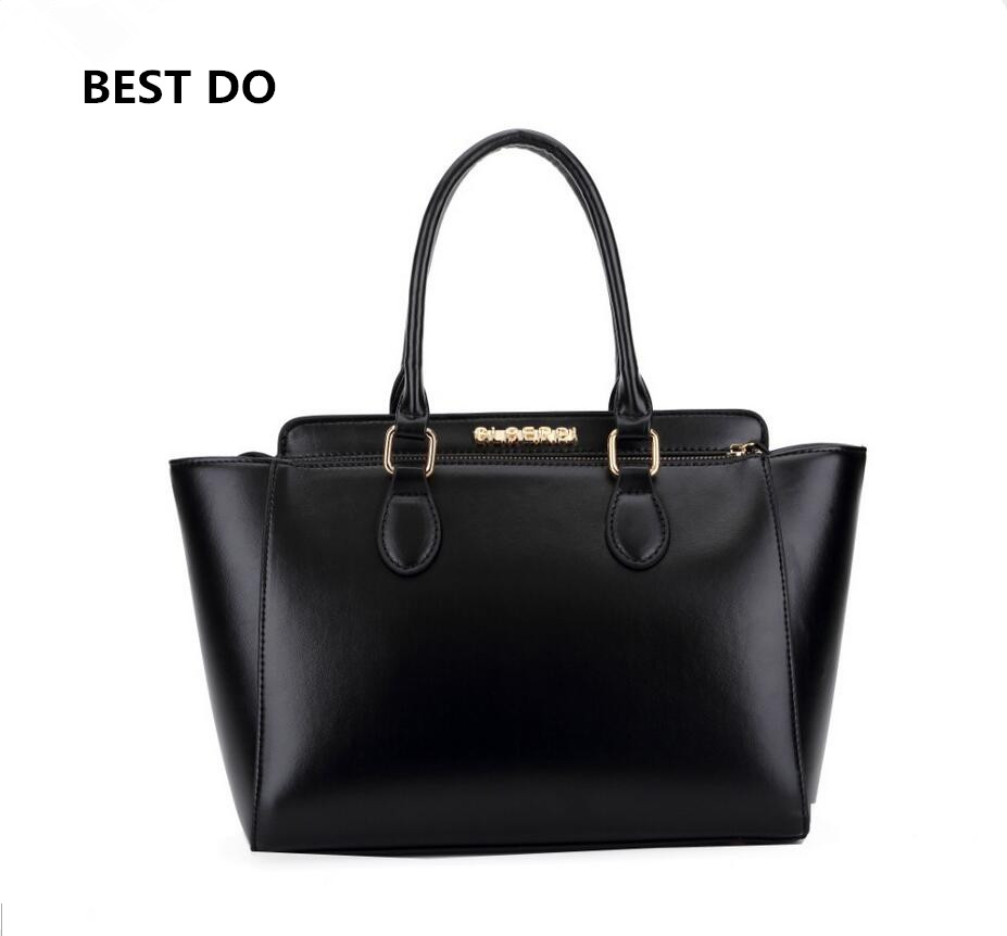 2016 Genuine Leather Bags Ladies Real Leather Bags Women Handbags High Quality Tote Bag for Women Black Fashion Clip Hobos(China (Mainland))