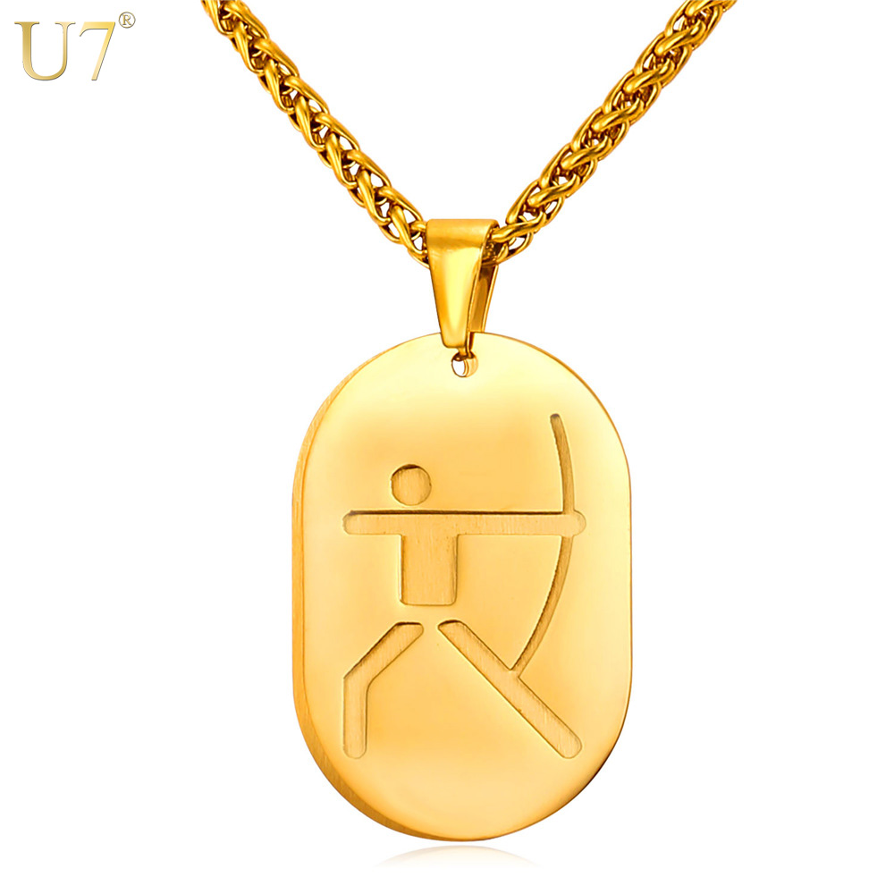 U7 New Stainless Steel Men Necklace 2016 Olympic Archery Bows Games Sporty Women Jewelry Gold Plated Dog Tags Necklace Gift P840(China (Mainland))