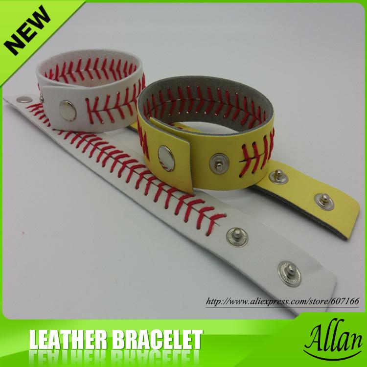 Wholesale Leather Softball Seam Bracelets sports bracelets(China (Mainland))