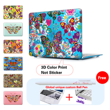 Colorful Butterflies Flowers Cover Case For Apple Macbook Air 11 13 Pro Retina 13 New 12 Inch Hard Shell Protective Case