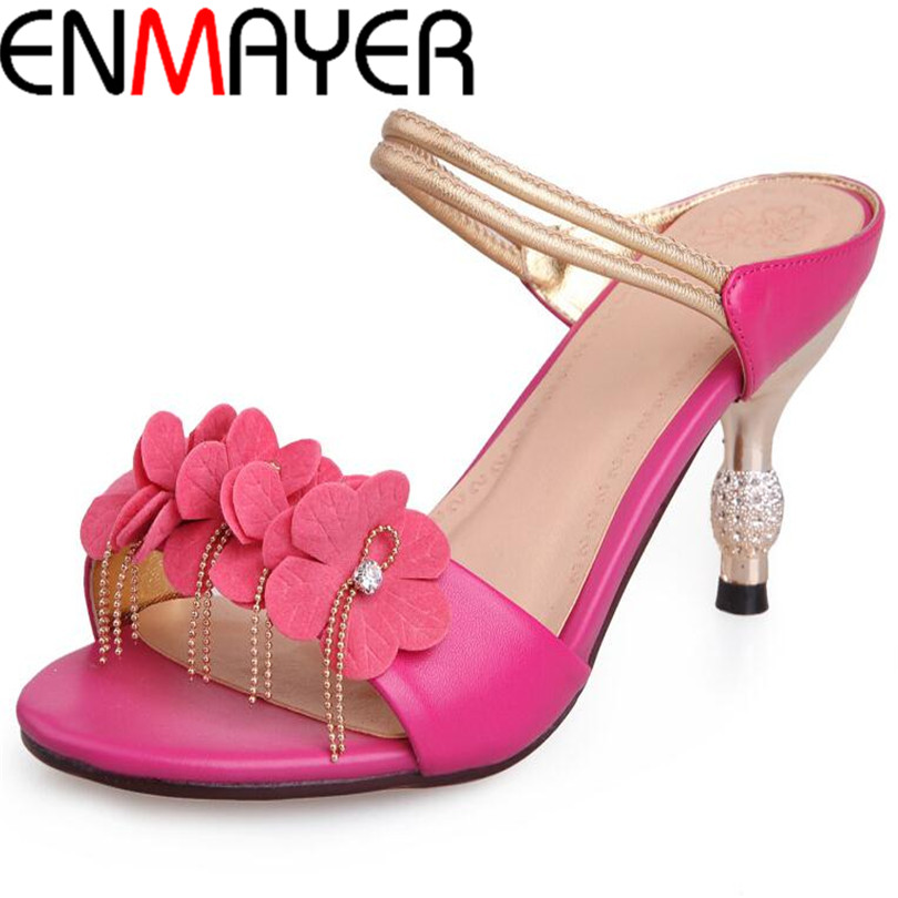 ENMAYER size Women High Heels Flip Flops 2015 Classic Mary Janes Ankle Straps Peep Toe Less Platform Summer Shoes Sandals