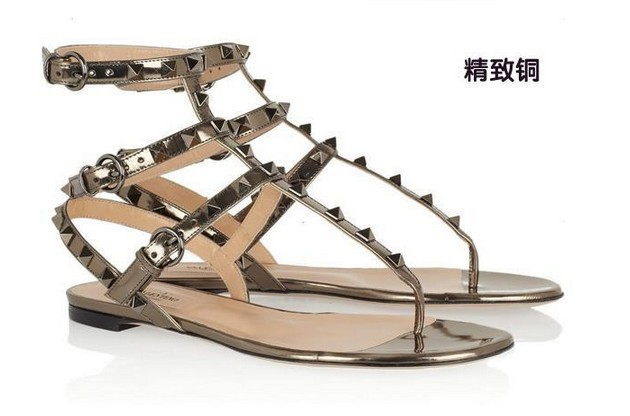 free hk post! f982 34 7 colors genuine leather rock stud flat sandals(China (Mainland))