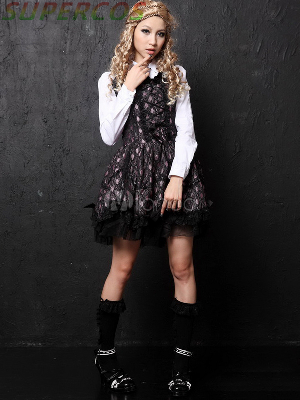 Free shipping! New Arrivals! High Quality! Pink Red Long Sleeves Cotton Blend Lolita Dress