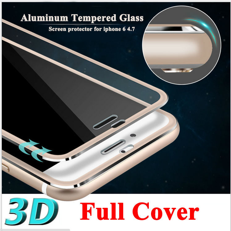 "Clear Front Screen Protector for iPhone 6 Tempered Glass Full Cover 4.7"" 3D Curved Edge Titanium Protective Film Full Coverage(China (Mainland))"