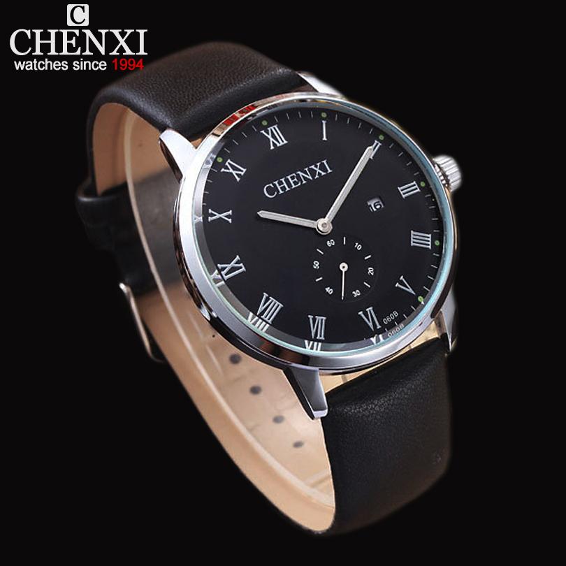 New CHENXI Men's Quartz-Watch Genuine Leather calendar men male clock Roman numeral dial watch feminino relogios masculinos gift(China (Mainland))