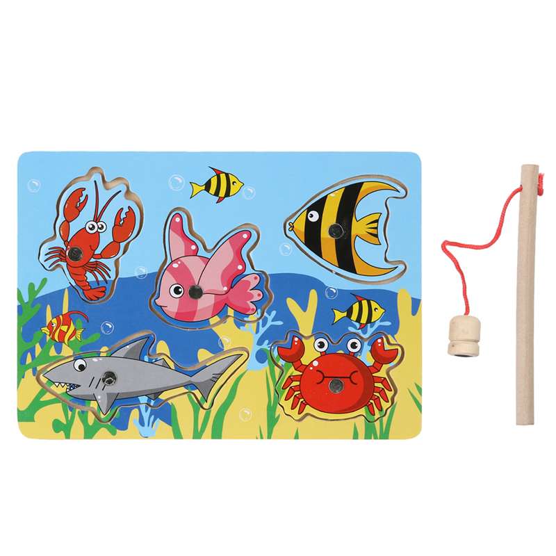 3D Jigsaw Puzzle Toy Wooden Magnetic Puzzle Fishing Game Jigsaw Puzzle Toy Educational Toys for Kids Gift(China (Mainland))