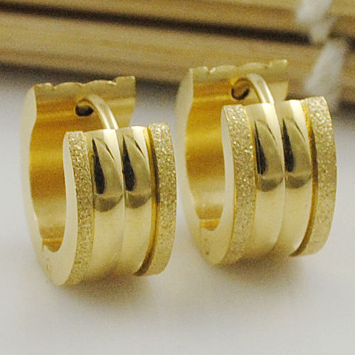 Men Stud earring, Polishing Scrub Stainless Steel 14K Gold plated Earrings Circles Jewellery Rock Cool WE376(China (Mainland))