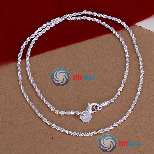 Bulemoon More earning 16 18 20 22 24 4MM Fashion Lovely Flash Silver Plated Wrest Rope Chain Necklace N067 Excellent fancy(China (Mainland))