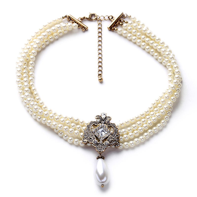 2016 Party Dazzle Noble Multilayer Beads Chain Romantic Choker Necklace Simulated Pearl Necklace Fashion Jewelry(China (Mainland))
