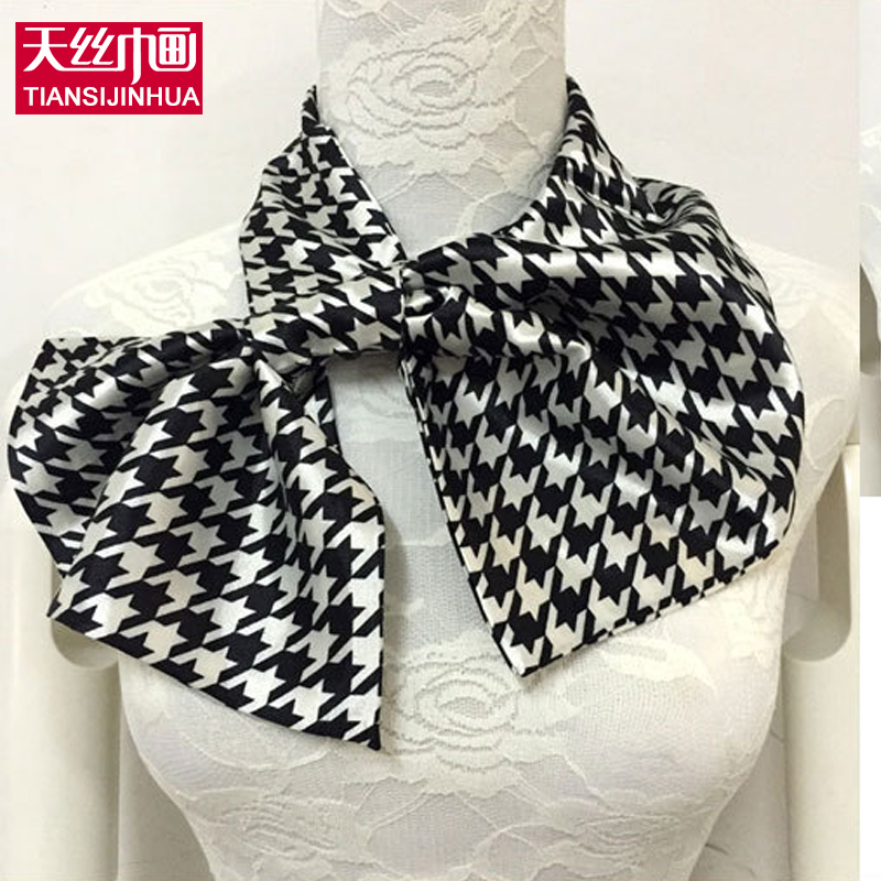 150 Colors Professional Women's Work Wear Silk Scarf Foulard Satin scarf hotel bank work wear Small Scarf Printed British Scarf(China (Mainland))