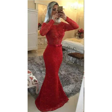 Robe De Soiree 2017 New Sexy Mermaid Long Evening Dresses Pearls Long Sleeves Bow Appliques Red Formal Prom Dress Party Gowns(China (Mainland))