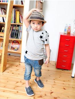 Free Shipping New Kids T Shirt Clothes Boys Gray Star Summer O--neck T Shirts Cotton Girls Short Sleeve Shirts Tops