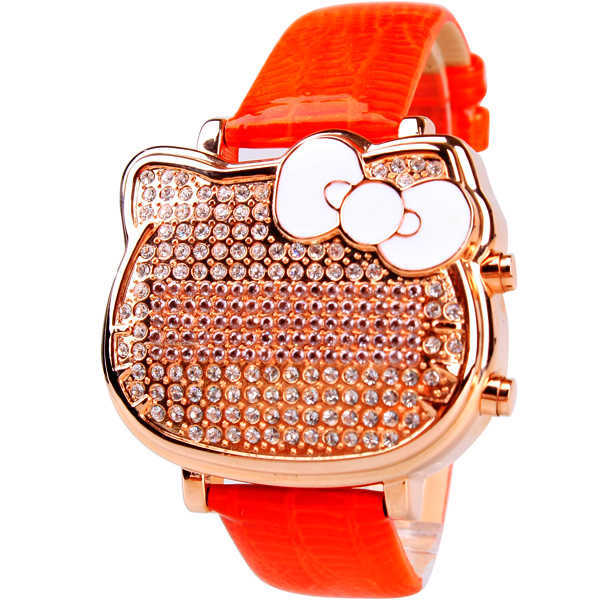 Fashion Brand Hello Kitty Ladies Hight Quality Genuine leather LED Electronic Dress Watch Fashion KT Cat Head Rlojes mujer clock(China (Mainland))