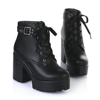 NIKOVE New 2016 Women Ankle Boots Round Toe Platform Buckle Square High Boots For Women Fashion Winter Punk Shoes Size 34-43
