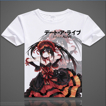 Date A Live T-shirt Tokisaki Kurumi Yoshino Cosplay T Shirt Fashion Anime Cotton Tops Tee For Men Women