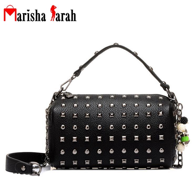 2016 Women Bag Fashion Women Messenger Bags Rock Rivets Chain Shoulder PU Leather Crossbody Handbags Clutches Bolsa Feminina(China (Mainland))